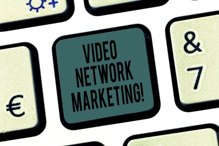 Word writing text Video Network Marketing. Business concept for Engaging video into your marketing campaign Keyboard key Intention to create computer message pressing keypad idea Stock Photo