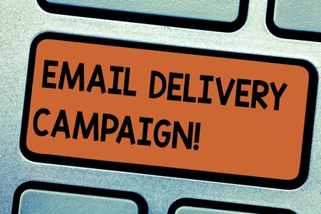Word writing text Email Delivery Campaign. Business concept for sending a commercial message to a group of showing Keyboard key Intention to create computer message pressing keypad idea Фото со стока