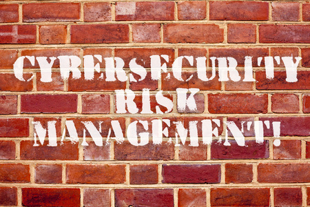 Word writing text Cybersecurity Risk Management. Business concept for Identifying threats and applying actions