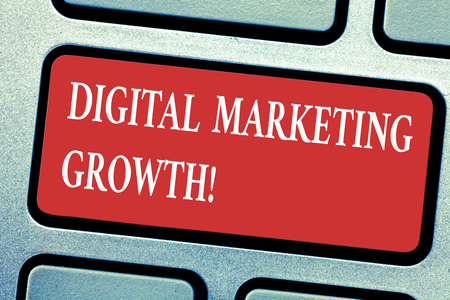 Conceptual hand writing showing Digital Marketing Growth. Business photo text greater online product sales or service income Keyboard key Intention to create computer message idea