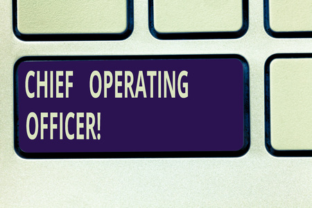 Text sign showing Chief Operating Officer. Conceptual photo responsible for the daily operation of the company Keyboard key Intention to create computer message pressing keypad idea Stock fotó
