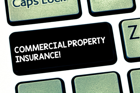 Word writing text Commercial Property Insurance. Business concept for provides protection against most risks Keyboard key Intention to create computer message pressing keypad idea Stock fotó