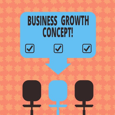 Writing note showing Business Growth Concept. Business photo showcasing process of improving some measure of success Space Color Arrow Pointing to One of the Three Swivel Chairs Stock Photo