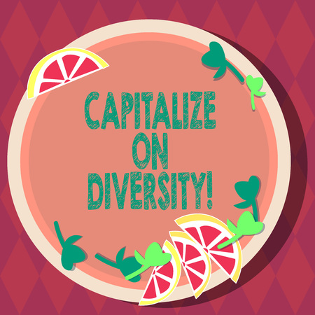 Handwriting text Capitalize On Diversity. Concept meaning Bringing together workers with different ethnicity Cutouts of Sliced Lime Wedge and Herb Leaves on Blank Round Color Plate