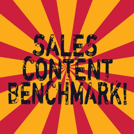 Wort schreiben Text Sales Content Benchmark. Geschäftskonzept für die Erstellung von Sales Enablement-Inhalten, die Sunburst-Foto-Zwei-Ton-Explosionseffekt für Ankündigungsplakat-Anzeigen umwandeln Standard-Bild