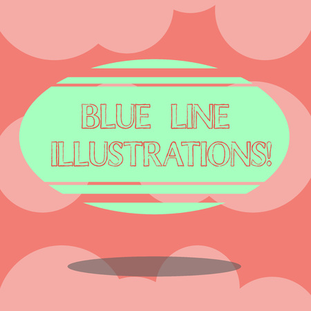 Writing note showing Blue Line Illustrations. Business photo showcasing investing in building an online presence and trust Blank Color Oval Shape with Horizontal Stripe Floating and Shadow 免版税图像 - 115985940