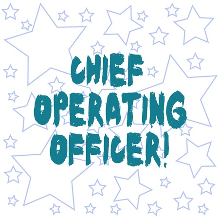 Text sign showing Chief Operating Officer. Conceptual photo responsible for the daily operation of the company Outlines of Different Size Star Shape in Random Seamless Repeat Pattern Stock fotó