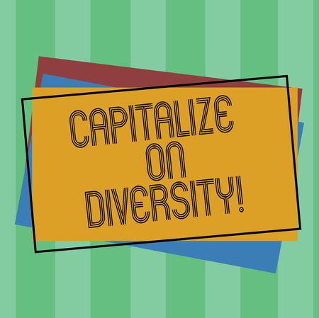Word writing text Capitalize On Diversity. Business concept for Bringing together workers with different ethnicity Pile of Blank Rectangular Outlined Different Color Construction Paper