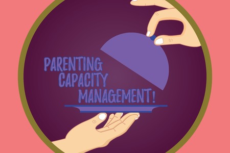 Conceptual hand writing showing Parenting Capacity Management. Business photo showcasing parents ability to protect children from risk Hu analysis Hands Serving Tray Platter and Lifting the Lid