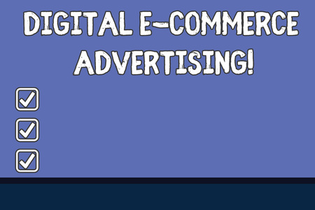 Conceptual hand writing showing Digital E Commerce Advertising. Business photo text Trading of goods and services using the web Color Rectangular Shape with Outline and Round Beam in Center