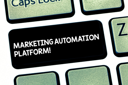 Word writing text Marketing Automation Platform. Business concept for automate repetitive task related to marketing Keyboard key Intention to create computer message pressing keypad idea