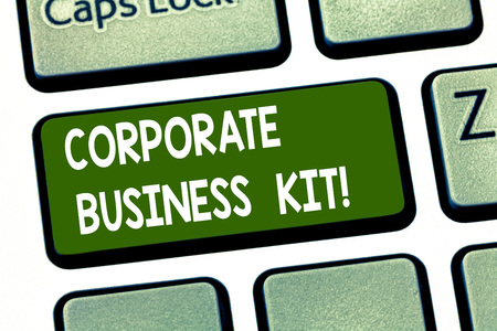 Conceptual hand writing showing Corporate Business Kit. Business photo showcasing Customized structural binder or emblem of a business Keyboard key Intention to create computer message idea