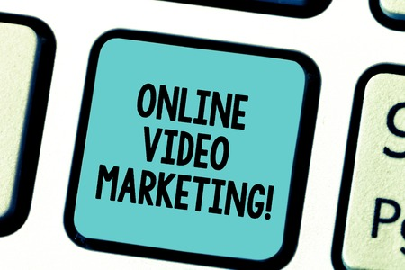 Text sign showing Online Video Marketing. Conceptual photo Engaging video into the marketing campaigns Keyboard key Intention to create computer message pressing keypad idea Stock Photo