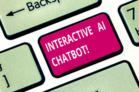 Writing note showing Interactive Ai Chatbot. Business photo showcasing computer program that simulates huanalysis conversation Keyboard key Intention to create computer message pressing keypad idea