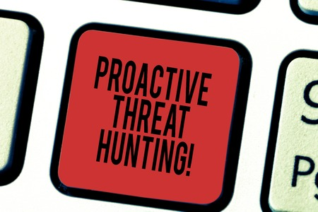 Writing note showing Proactive Threat Hunting. Business photo showcasing focused and iterative approach to searching out Keyboard key Intention to create computer message pressing keypad idea 写真素材