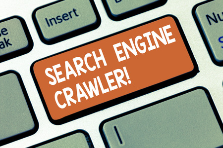 Writing note showing Search Engine Crawler. Business photo showcasing program or automated script that browses the web Keyboard key Intention to create computer message pressing keypad idea