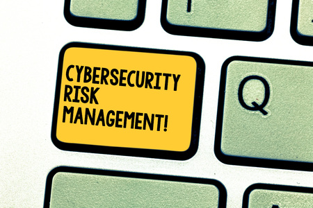 Writing note showing Cybersecurity Risk Management. Business photo showcasing Identifying threats and applying actions Keyboard key Intention to create computer message pressing keypad idea