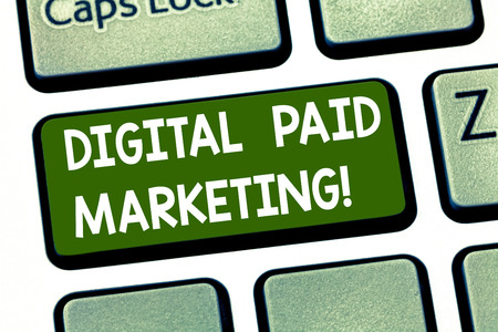 Conceptual hand writing showing Digital Paid Marketing. Business photo showcasing marketing efforts that involve a paid placement Keyboard key Intention to create computer message idea