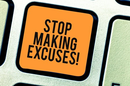 Conceptual hand writing showing Stop Making Excuses. Business photo showcasing do not explanation for something that went wrong Keyboard key Intention to create computer message idea