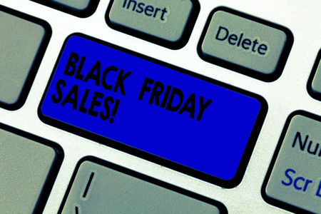 Conceptual hand writing showing Black Friday Sales. Business photo text day full of special shopping deals and heavy discounts Keyboard key Intention to create computer message idea Imagens