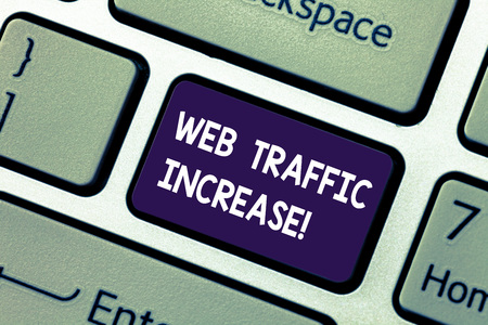 Conceptual hand writing showing Web Traffic Increase. Business photo showcasing Growth of the amount of web users who visit a website Keyboard key Intention to create computer message idea 스톡 콘텐츠