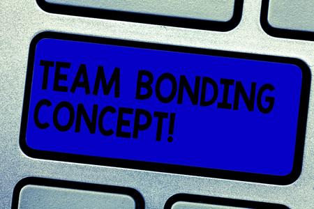 Handwriting text writing Team Bonding Concept. Concept meaning Improve workplace projects that involve teamwork Keyboard key Intention to create computer message pressing keypad idea Imagens - 116204897