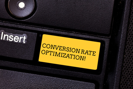 Word writing text Conversion Rate Optimization. Business concept for increasing the percentage of website visitors Keyboard key Intention to create computer message pressing keypad idea