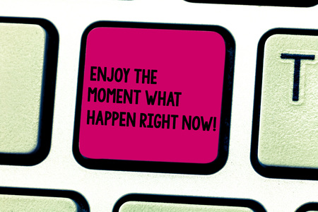 Word writing text Enjoy The Moment What Happen Right Now. Business concept for Seize the day Relax Leisure Keyboard key Intention to create computer message pressing keypad idea 版權商用圖片