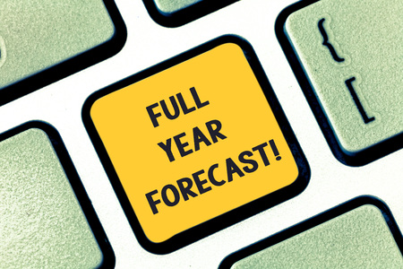 Writing note showing Full Year Forecast. Business photo showcasing estimate of current financial perforanalysisce formulate plans Keyboard key Intention to create computer message pressing keypad idea Stock fotó