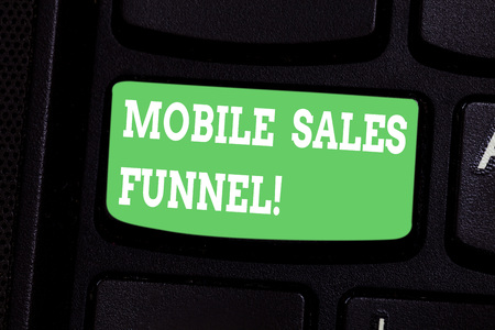 Conceptual hand writing showing Mobile Sales Funnel. Business photo showcasing visual metaphor for path taken by potential customer Keyboard key Intention to create computer message idea