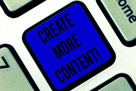 Writing note showing Create More Content. Business photo showcasing write words sentence to attract clearly defined audience Keyboard key Intention to create computer message pressing keypad idea Фото со стока