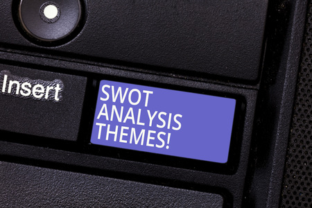 Writing note showing Swot Analysis Themes. Business photo showcasing Subject matter to undergo comprehensive analysis Keyboard key Intention to create computer message pressing keypad idea