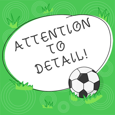 Writing note showing Attention To Detail. Business photo showcasing ability to achieve thoroughness and accuracy in task Soccer Ball on the Grass and Blank Outlined Round Color Shape photo