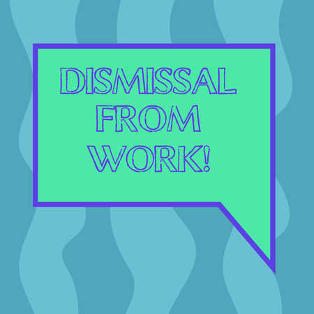 Conceptual hand writing showing Dismissal From Work. Business photo showcasing Terminated from Employment for reason Get fired Blank Deformed Color Round Shape with Small Circles