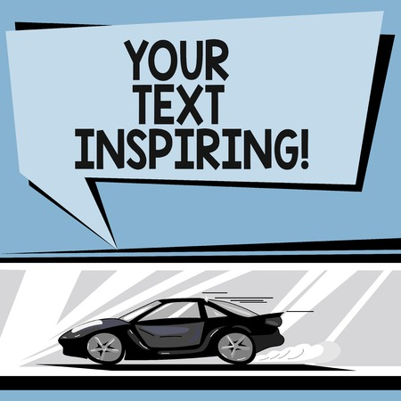 Writing note showing Your Text Inspiring. Business photo showcasing words make you feel exciting and strongly enthusiastic Car with Fast Movement icon and Exhaust Smoke Speech Bubble