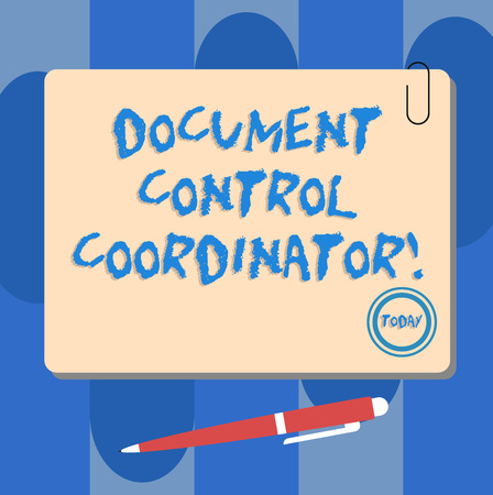 Writing note showing Document Control Coordinator. Business photo showcasing analysisaging and controlling company documents Square Color Board with Magnet Click Ballpoint Pen and Clip Archivio Fotografico