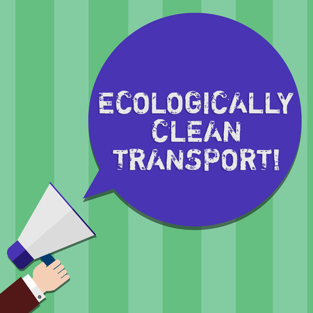 Writing note showing Ecologically Clean Transport. Business photo showcasing Green vehicle Environmentally friendly vehicle Hu analysis Hand Holding Megaphone Color Speech Bubble Stockfoto