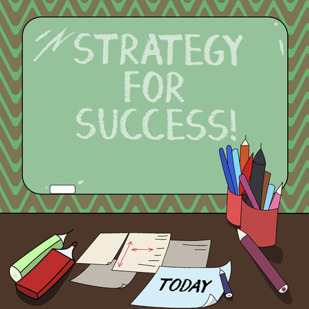 Conceptual hand writing showing Strategy For Success. Business photo showcasing Game plan to follow to meet the challenge and win Mounted Blackboard with Chalk Writing Tools Sheets on Desk Imagens