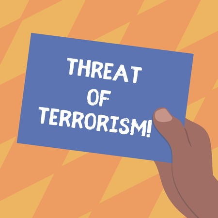 Text sign showing Threat Of Terrorism. Conceptual photo unlawful use violence and intimidation against civilians Drawn Hu analysis Hand Holding Presenting Blank Color Paper Cardboard photo