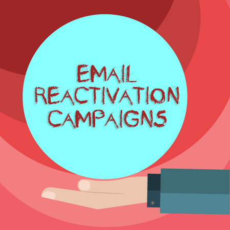 Text sign showing Email Reactivation Campaigns. Conceptual photo Triggered email for sleeping subscribers Hu analysis Hand in Suit Offering Blank Solid Color Circle for Logo Posters Reklamní fotografie