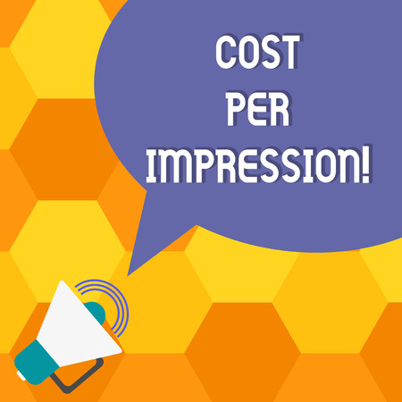 Handwriting text Cost Per Impression. Concept meaning refers rate that advertiser has agreed to pay for number Megaphone with Sound Volume Icon and Blank Color Speech Bubble photo 스톡 콘텐츠