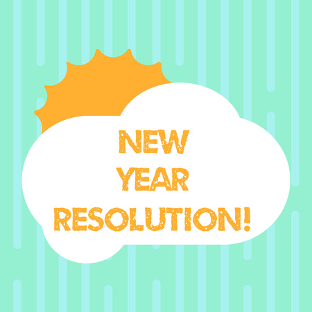 Word writing text New Year Resolution. Business concept for promise that you make yourself start doing something Sun Hiding Shining Behind Blank Fluffy Color Cloud photo for Poster Ads