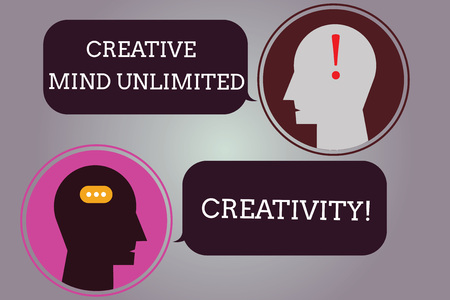 Conceptual hand writing showing Creative Mind Unlimited Creativity. Business photo text Full of original ideas brilliant brain Messenger Room with Chat Heads Speech Bubbles Punctuations