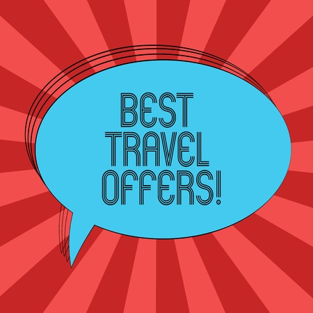 Writing note showing Best Travel Offers. Business photo showcasing visit other countries with great discount promotion Oval Outlined Solid Color Speech Bubble Empty Text Balloon Banco de Imagens