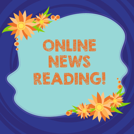 Text sign showing Online News Reading. Conceptual photo using internet to know current events over time Blank Uneven Color Shape with Flowers Border for Cards Invitation Ads Foto de archivo