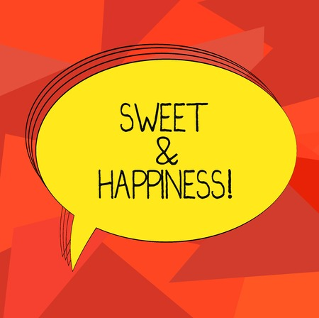 Word writing text Sweet And Happiness. Business concept for feeling that comes over when you know life is good Blank Oval Outlined Solid Color Speech Bubble Empty Text Balloon photo