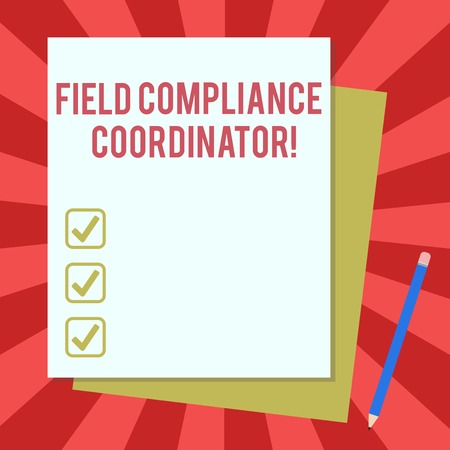 Word writing text Field Compliance Coordinator. Business concept for assist in preparation of regulatory documents Stack of Blank Different Pastel Color Construction Bond Paper and Pencil Archivio Fotografico