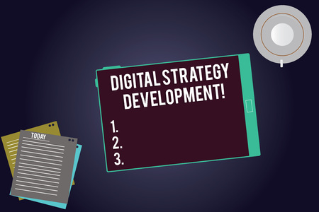 Writing note showing Digital Strategy Development. Business photo showcasing maximizing the business benefits assets Tablet Screen Cup Saucer and Filler Sheets on Color Background Imagens - 116206394