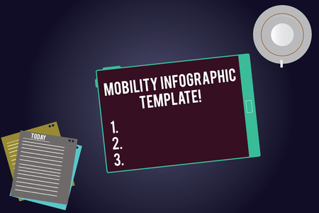 Writing note showing Mobility Infographic Template. Business photo showcasing Data visualization for mobile devices Tablet Screen Cup Saucer and Filler Sheets on Color Background Stok Fotoğraf