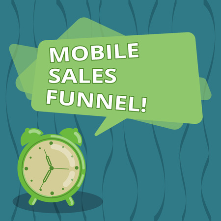 Writing note showing Mobile Sales Funnel. Business photo showcasing visual metaphor for path taken by potential customer Blank Rectangular Color Speech Bubble Overlay and Analog Alarm Clock Banco de Imagens